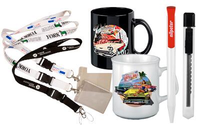 Nøgleringe med bånd, Kuglepenne, Porcelænskrus med logotryk