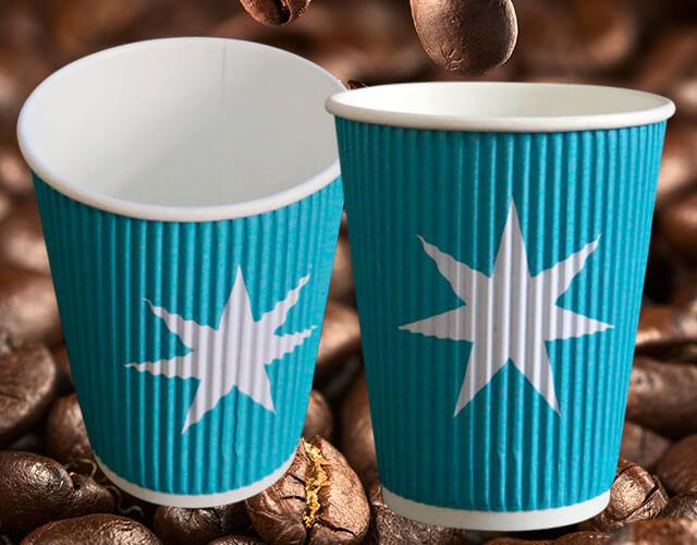100% Bionedbrydelige Kaffebægre med reklametryk, Papkrus, Eengangs bægre