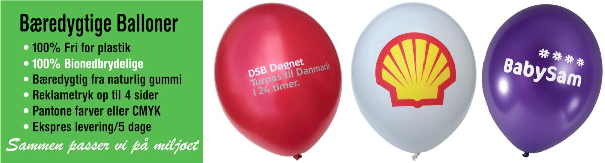 Bionedbrydelige reklameballoner, Gummiballoner med eget logo/reklametryk