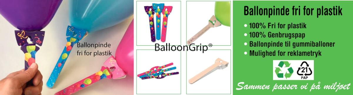 Ballonpinde i 100% genbrugspap, Ballonpinde fri for plastik, Ballon tilbehør